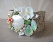 Bridal bracelet - bridesmaids gift - vintage shabby chic style - collage leather cuff - pastel spring colours - OOAKjewelz