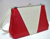 Glitter Vinyl Purse - Red Metal Flake Sparkle Vinyl Diner Booth Retro Handbag - LARGE size