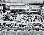 Black and White Train Wheels, 8x10 Photograph Masculine Structural Architectural Railroad Railway In Stock, Ready to Ship