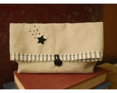 Linen clutch Shooting Star Bag Embroidery Oatmeal Linen purse Black Ticking Stripe Pouch Kindle Make Up Travel Bag tagt team teamspirit