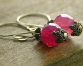 earrings sterling silver and crystal in pink free shipping