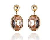 Earrings Pale Pink Peach Swarovski Crystal Gold Plated Galya