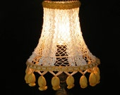 Mintook- A  small vintage LAMP SHADE, in cearm ecru color and golden fringes.