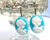 Shabby Chic Blue White Cameo Dangle Earrings