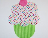 Iron On Fabric Applique Lime And Confetti Sprinkle CUPCAKE