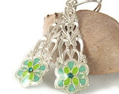 Long Floral  silver dangle Earrings -Flower in Turquoise and lime leaves colors