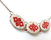 Cross stitch jewelry - Necklace with ethnic Ukrainian embroidery in bronze