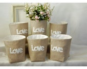 box linen 3 LOVE Letters Wedding Set of Three Oatmeal Linen Bin Organizer Storage Basket Felt Recycled Gift Wrap tagt team