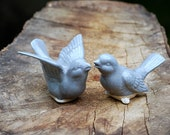Ceramic bird Wedding  cake toppers in blue spotted gray