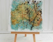 LOVEBIRDS in AUSTRALIA -  Original Encaustic Vintage MAP Painting