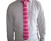 Hand Knit Hot Pink and White Pinstripe Skinny Tie