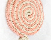 Skinny scarf - Crochet necklace - Lollipop colors cotton - peach and cream