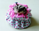 "CUTE 5.5"" Sugar Glider-Rat (small animal) Hanging WARM Pouch Bag washable"