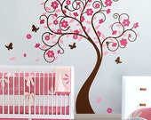 Curly Flower Tree with Butterflies - Nursery Vinyl Wall Decal