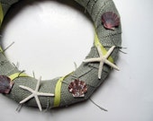 Sage Green Burlap Wrapped Seashell Wreath with Yellow Ribbon - LizzieJoeDesigns