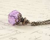 Lilac Pendant, Vintage Style Bronze Chain Wire Wrapped