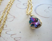 Pieces of the Stars no.3- Titanium Coated Quartz Pendant Necklace in Gold
