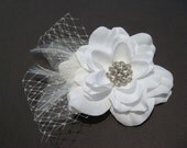 White Hair Flower with russian netting, feathers, rhinestone or pearls / flower hair clip / pure white bridal flower