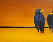 Two Black Birds Original Oil Painting 12x24.