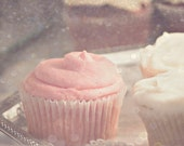 Pink Sugar Cupcakes - Sweet Pastel Blush Pink Vanilla Cupcake Photography (7x5 print) Girly Gift Foodie Kitchen Dessert Photography