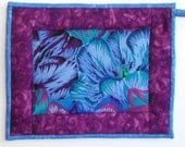 Quilted Pot Holder / Hot Pad -- Tropical Blue Flower with Purple Borders