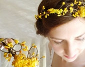 autumn wedding hair crown - PIXIE - bridal, yellow flower girl head wreath - thehoneycomb