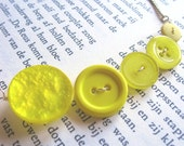 Nearly Neon Yellow Smile Necklace - Vintage Buttons and Silver Chain
