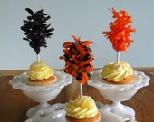 Halloween Tissue Puff Cupcake Toppers ... set of 12