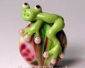 Watermelon Crawl...Lampwork Frog Bead