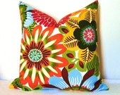Pillow Covers - Decorative Pillows - Throw Pillows - Set of Two - 17x17 in - Floral - Dahlia - Daffodil - Red - Orange - Green