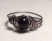 Black Onyx and Gunmetal Wire Wrapped Ring Any Size