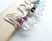 Swarovski Crystal Earrings - Pink, Teal and Black Trio
