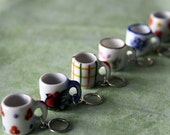 Stitchmarkers - Coffee Mugs - Dots/Flowers, Cockerel, Checkered, Pink Floral, Blue Floral, Hearts  - Stitch Markers