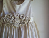 Flower girl dress...Roses ... Natural Cotton  2T-5