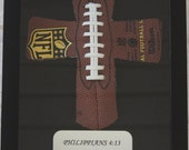Personalized Football Cross in Shadowbox Frame