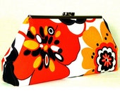 Clutch Bag - Red Yellow and Black Flowers - CreationsByAngel
