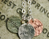 Mom Name Necklace - Stamped and Hammered Sterling, Copper, and Brass - 1/2 inch Personalized