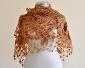 Crochet Shawl Caramel Flower Mohair Triangle Shawl