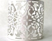 Lan Flower Filigree Metal Hard Cuff Bracelet