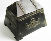 Antique Art Nouveau Metal Jewelry Box - Jewelry Casket Egyptian Revival Gothic 1900
