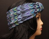 Multicolored Blue Flame Headband Turban