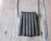 Modern Industrial Unisex Gray Spikes Necklace - Concrete Slate Grey Ceramic Pendant Gift for him or her Under 25