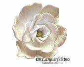 Blooming white gardenia - Wool Felt Flower Brooch  pin
