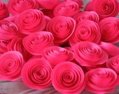 Paper Flowers for Wedding Decors, Embellishments or Scrap booking - Neon Fuchsia Pink - 60 pcs - Wholesale