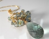 Moss Green Amethyst Briolette Necklace Pendant Topped with Wire Wrapped Gemstones. Fashion Jewelry Accessory - YourDailyJewels