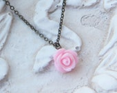 Pink Rose pendant antique brass necklace