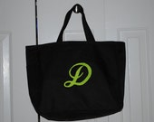 Personalized Tote Bag Bridesmaid Gift Cheer Dance Monogrammed Black Embroidered Baby Wedding