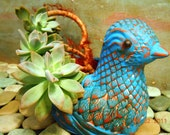 Upcycled Terra Cotta  Bird Planter