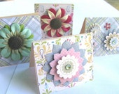 Mini  Note Cards - Floral on Pastels and Plaid - Set of four