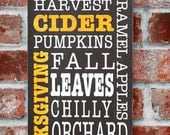 Fall Autumn Typography Subway Style Hand Painted Sign
